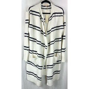 &.Layered Striped open front cardigan sweater